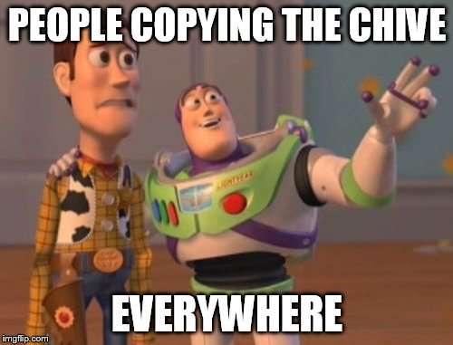 X, X Everywhere Meme | PEOPLE COPYING THE CHIVE EVERYWHERE | image tagged in memes,x,x everywhere,x x everywhere | made w/ Imgflip meme maker
