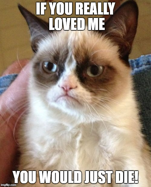 Grumpy Cat Meme | IF YOU REALLY LOVED ME YOU WOULD JUST DIE! | image tagged in memes,grumpy cat | made w/ Imgflip meme maker