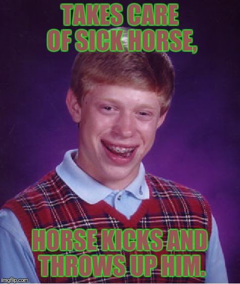 Bad Luck Brian Meme | TAKES CARE OF SICK HORSE, HORSE KICKS AND THROWS UP HIM. | image tagged in memes,bad luck brian | made w/ Imgflip meme maker