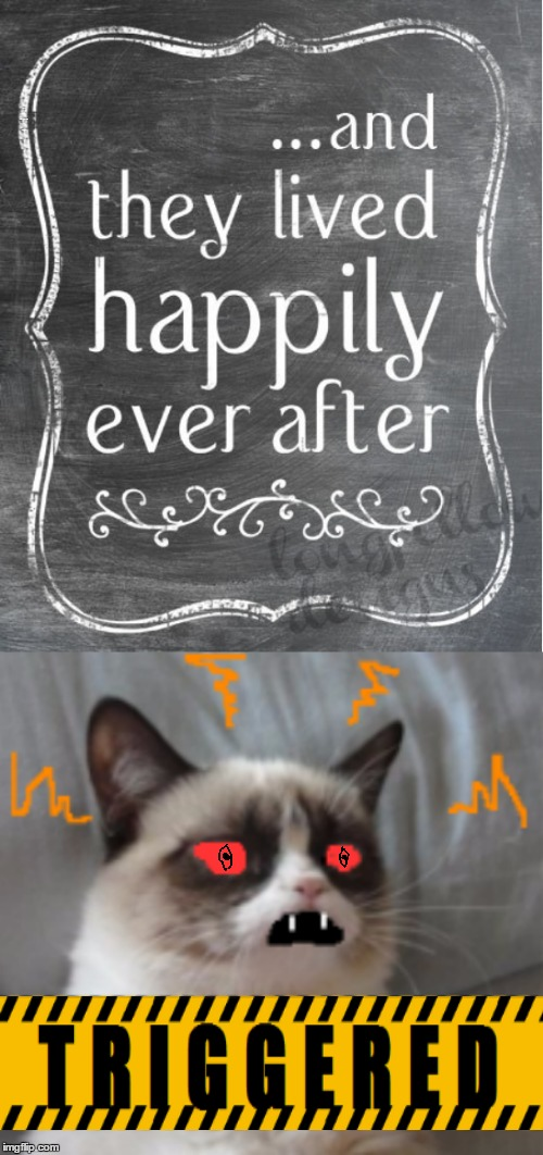 One thing Grumpy Cat can't stand (Fairy Tale Week bonus memes). | ...and they lived happily ever after TRIGGERED | image tagged in memes,fairy tales,fairy tale week,happily ever after,grumpy cat,triggered | made w/ Imgflip meme maker