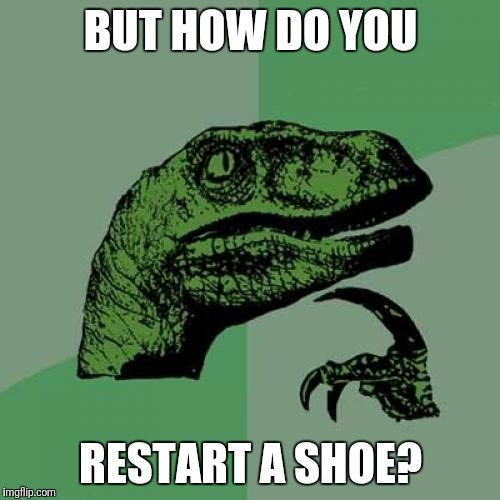 Philosoraptor Meme | BUT HOW DO YOU RESTART A SHOE? | image tagged in memes,philosoraptor | made w/ Imgflip meme maker