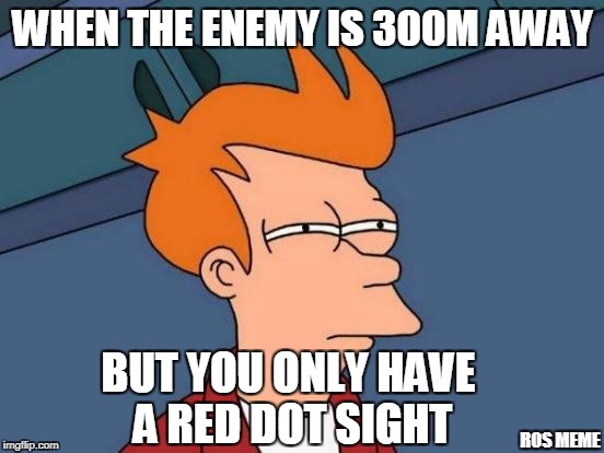 when you don't have a better scope | WHEN THE ENEMY IS 300M AWAY BUT YOU ONLY HAVE A RED DOT SIGHT ROS MEME | image tagged in memes,futurama fry | made w/ Imgflip meme maker