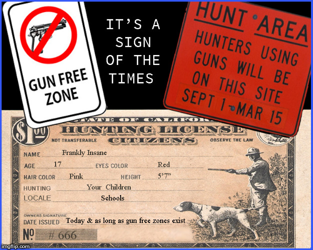 Guns Free Zones- a hunting license for kids | image tagged in gun free zone,2nd amendment,guns,current events,politics lol,funny memes | made w/ Imgflip meme maker