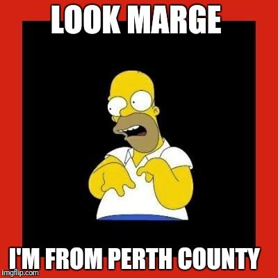 Retard homer.  | LOOK MARGE I'M FROM PERTH COUNTY | image tagged in retard homer | made w/ Imgflip meme maker