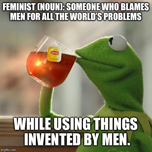 But Thats None Of My Business Meme | FEMINIST (NOUN): SOMEONE WHO BLAMES MEN FOR ALL THE WORLD'S PROBLEMS WHILE USING THINGS INVENTED BY MEN. | image tagged in memes,but thats none of my business,kermit the frog | made w/ Imgflip meme maker