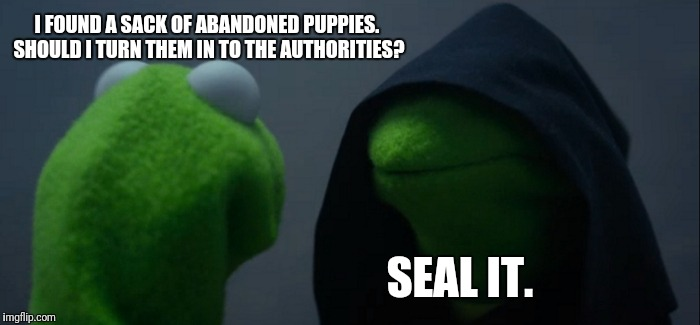 Evil Kermit Meme | I FOUND A SACK OF ABANDONED PUPPIES. SHOULD I TURN THEM IN TO THE AUTHORITIES? SEAL IT. | image tagged in memes,evil kermit | made w/ Imgflip meme maker