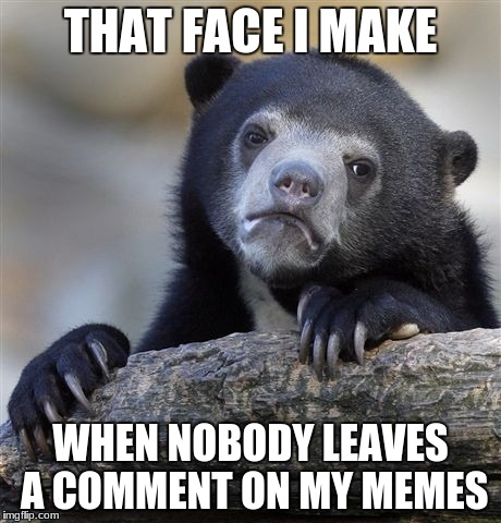 Confession Bear Meme | THAT FACE I MAKE WHEN NOBODY LEAVES A COMMENT ON MY MEMES | image tagged in memes,confession bear | made w/ Imgflip meme maker