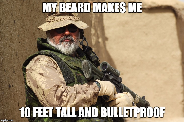 Beard Strength | MY BEARD MAKES ME 10 FEET TALL AND BULLETPROOF | image tagged in beard,beards,manly,humor | made w/ Imgflip meme maker