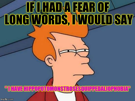 "Futurama Fry | IF I HAD A FEAR OF LONG WORDS, I WOULD SAY "" I HAVE HIPPOPOTOMONSTROSESQUIPPEDALIOPHOBIA"" 