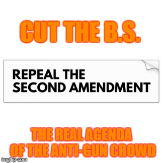 CUT THE B.S. THE REAL AGENDA OF THE ANTI-GUN CROWD | image tagged in 2nd amendment | made w/ Imgflip meme maker