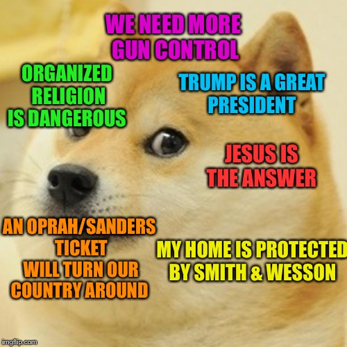 There —  this should make everyone happy! | WE NEED MORE  GUN CONTROL TRUMP IS A GREAT PRESIDENT ORGANIZED RELIGION IS DANGEROUS AN OPRAH/SANDERS TICKET WILL TURN OUR COUNTRY AROUND JE | image tagged in memes,doge,politics,religion,gun control | made w/ Imgflip meme maker