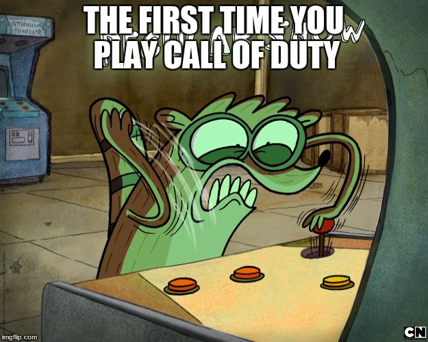 Rigby plays callof duty | THE FIRST TIME YOU PLAY CALL OF DUTY | image tagged in t-ags | made w/ Imgflip meme maker