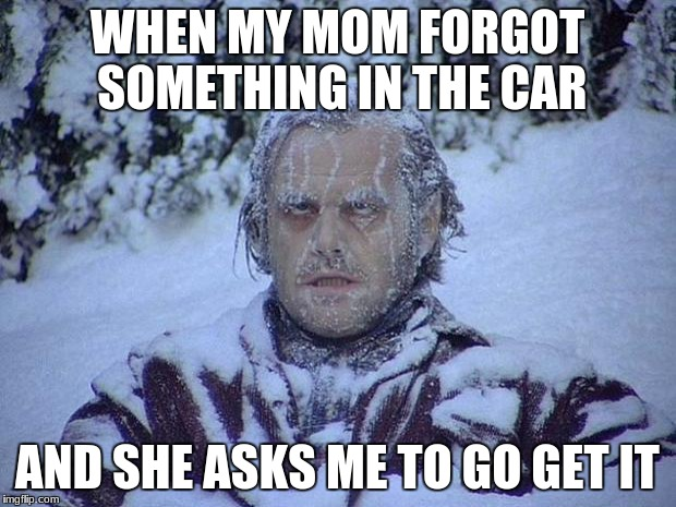 Jack Nicholson The Shining Snow Meme | WHEN MY MOM FORGOT SOMETHING IN THE CAR AND SHE ASKS ME TO GO GET IT | image tagged in memes,jack nicholson the shining snow | made w/ Imgflip meme maker
