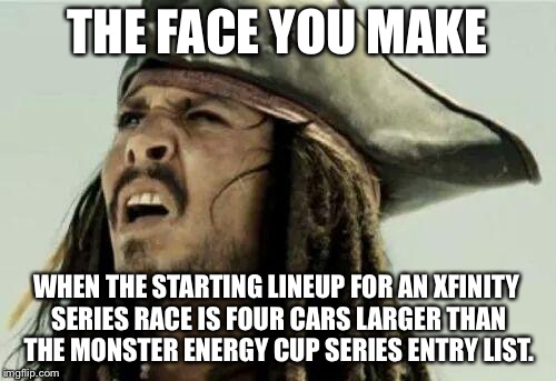Smaller NASCAR Cup | THE FACE YOU MAKE WHEN THE STARTING LINEUP FOR AN XFINITY SERIES RACE IS FOUR CARS LARGER THAN THE MONSTER ENERGY CUP SERIES ENTRY LIST. | image tagged in the face you make,nascar,memes,car,down,xfinity | made w/ Imgflip meme maker