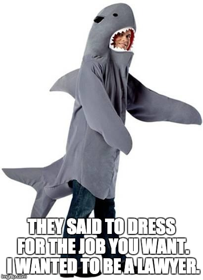 Shark Dressed Man Costume | THEY SAID TO DRESS FOR THE JOB YOU WANT. I WANTED TO BE A LAWYER. | image tagged in shark dressed man costume | made w/ Imgflip meme maker