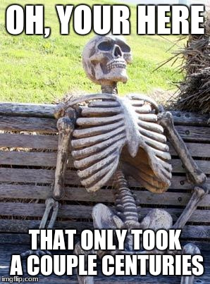 Waiting Skeleton Meme | OH, YOUR HERE THAT ONLY TOOK A COUPLE CENTURIES | image tagged in memes,waiting skeleton | made w/ Imgflip meme maker