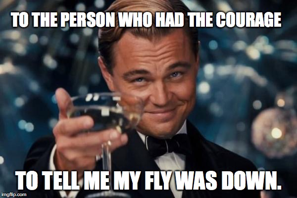 Leonardo Dicaprio Cheers Meme | TO THE PERSON WHO HAD THE COURAGE TO TELL ME MY FLY WAS DOWN. | image tagged in memes,leonardo dicaprio cheers | made w/ Imgflip meme maker