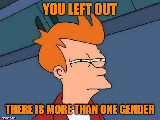 Futurama Fry Meme | YOU LEFT OUT THERE IS MORE THAN ONE GENDER | image tagged in memes,futurama fry | made w/ Imgflip meme maker