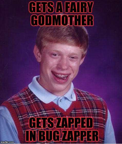 Bad Luck Brian Meme | GETS A FAIRY GODMOTHER GETS ZAPPED IN BUG ZAPPER | image tagged in memes,bad luck brian,meme,fairy godmother,fairy tale week | made w/ Imgflip meme maker