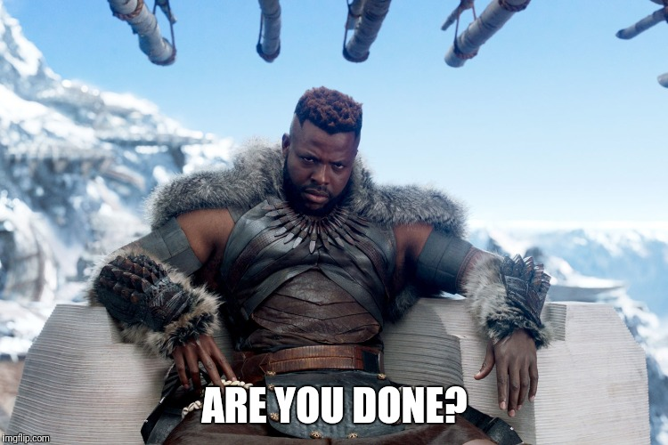 ARE DONE? | ARE YOU DONE? | image tagged in black panther | made w/ Imgflip meme maker