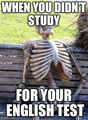 Waiting Skeleton Meme | WHEN YOU DIDN'T STUDY FOR YOUR ENGLISH TEST | image tagged in memes,waiting skeleton | made w/ Imgflip meme maker