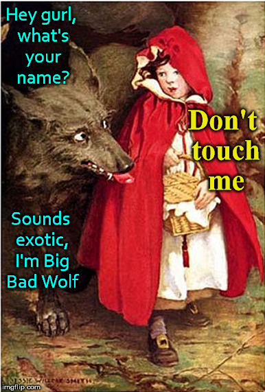 Hey gurl, what's your name? Sounds exotic, I'm Big Bad Wolf Don't touch me | made w/ Imgflip meme maker