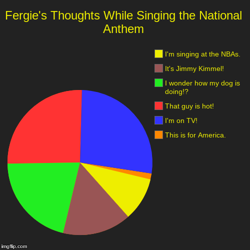 Fergie's Thoughts While Singing the National Anthem | This is for America., I'm on TV!, That guy is hot!, I wonder how my dog is doing!?, It | image tagged in funny,pie charts | made w/ Imgflip pie chart maker