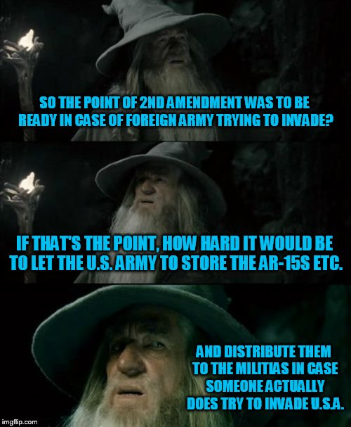 Imminent threat of invasion? By the Brits? | SO THE POINT OF 2ND AMENDMENT WAS TO BE READY IN CASE OF FOREIGN ARMY TRYING TO INVADE? IF THAT'S THE POINT, HOW HARD IT WOULD BE TO LET THE | image tagged in memes,confused gandalf,gun control | made w/ Imgflip meme maker