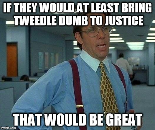 That Would Be Great Meme | IF THEY WOULD AT LEAST BRING TWEEDLE DUMB TO JUSTICE THAT WOULD BE GREAT | image tagged in memes,that would be great | made w/ Imgflip meme maker