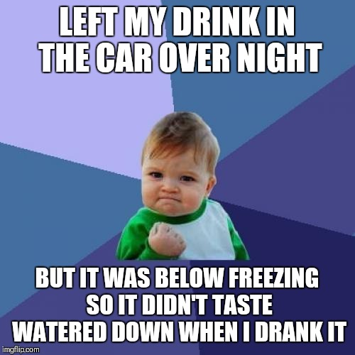 Success Kid Meme | LEFT MY DRINK IN THE CAR OVER NIGHT BUT IT WAS BELOW FREEZING SO IT DIDN'T TASTE WATERED DOWN WHEN I DRANK IT | image tagged in memes,success kid | made w/ Imgflip meme maker