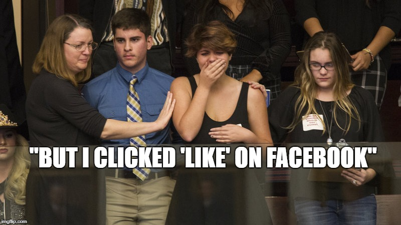 "I clicked like on Facebook |  ""BUT I CLICKED 'LIKE' ON FACEBOOK"" 