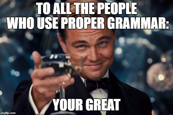 Leonardo Dicaprio Cheers Meme | TO ALL THE PEOPLE WHO USE PROPER GRAMMAR: YOUR GREAT | image tagged in memes,leonardo dicaprio cheers | made w/ Imgflip meme maker