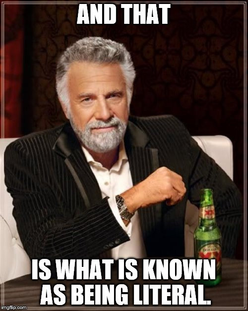 The Most Interesting Man In The World Meme | AND THAT IS WHAT IS KNOWN AS BEING LITERAL. | image tagged in memes,the most interesting man in the world | made w/ Imgflip meme maker