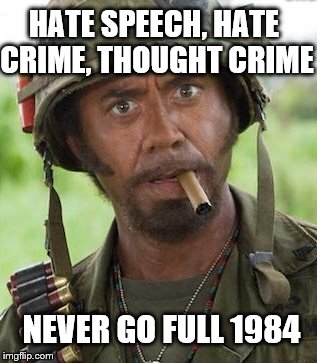 Be careful what laws you're asking for.  | HATE SPEECH, HATE CRIME, THOUGHT CRIME NEVER GO FULL 1984 | image tagged in never go full,1984,memes | made w/ Imgflip meme maker