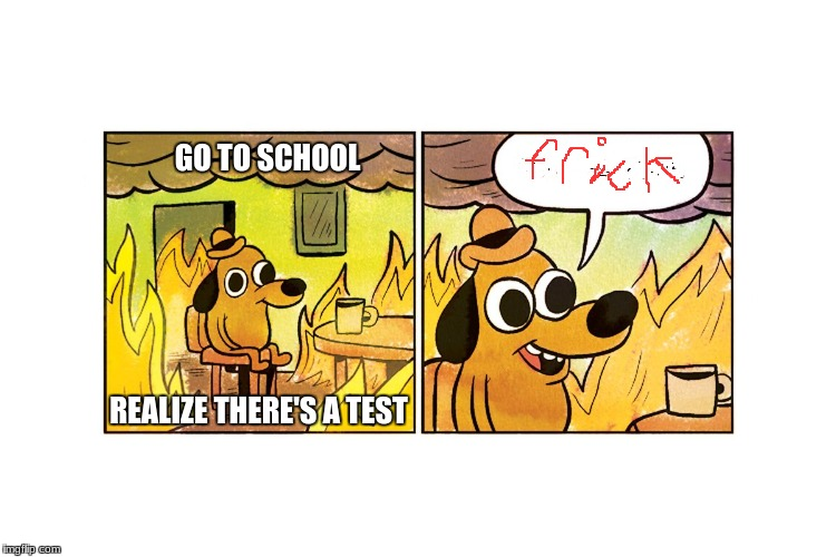This is fine | REALIZE THERE'S A TEST GO TO SCHOOL | image tagged in this is fine | made w/ Imgflip meme maker