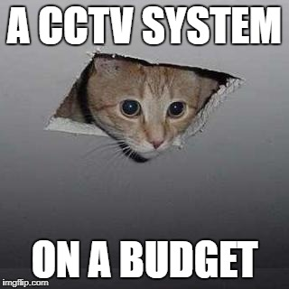Ceiling Cat Meme | A CCTV SYSTEM ON A BUDGET | image tagged in memes,ceiling cat | made w/ Imgflip meme maker