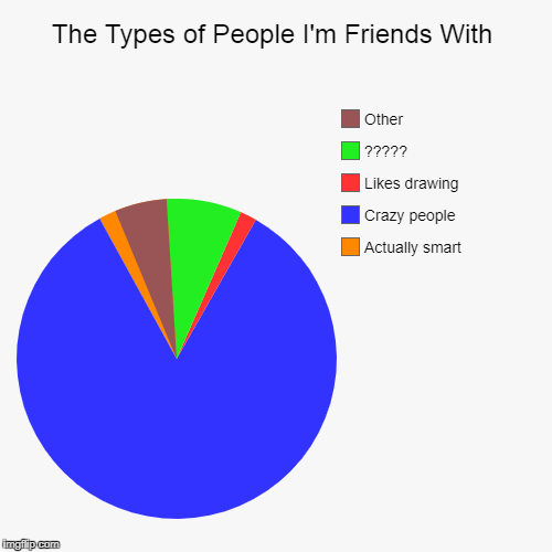 The Types of People I'm Friends With | Actually smart, Crazy people, Likes drawing, ?????, Other | image tagged in funny,pie charts | made w/ Imgflip pie chart maker