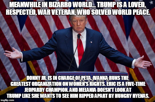 Donald Trump | MEANWHILE IN BIZARRO WORLD... TRUMP IS A LOVED, RESPECTED, WAR VETERAN, WHO SOLVED WORLD PEACE. DONNY JR. IS IN CHARGE OF PETA. IVANKA RUNS  | image tagged in donald trump | made w/ Imgflip meme maker
