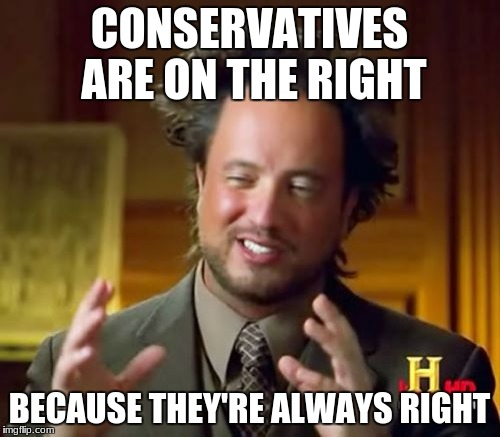 CONSERVATIVES ARE ON THE RIGHT BECAUSE THEY'RE ALWAYS RIGHT | image tagged in memes,ancient aliens | made w/ Imgflip meme maker