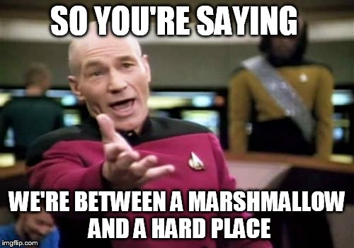 Picard Wtf Meme | SO YOU'RE SAYING WE'RE BETWEEN A MARSHMALLOW AND A HARD PLACE | image tagged in memes,picard wtf | made w/ Imgflip meme maker