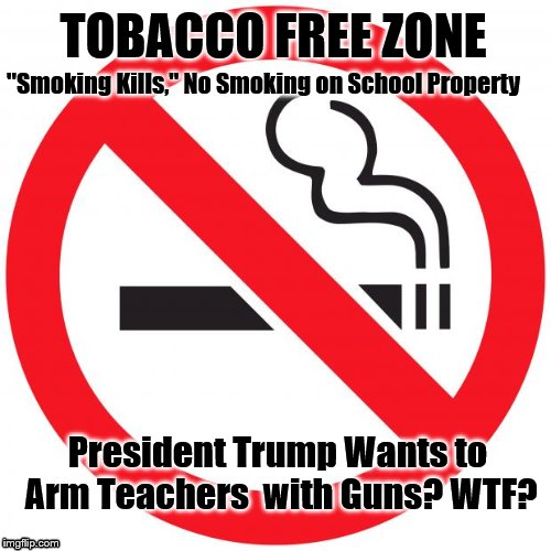 "TOBACCO FREE ZONE President Trump Wants to Arm Teachers  with Guns? WTF? ""Smoking Kills,"" No Smoking on School Property 
