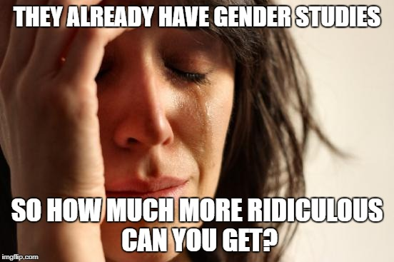 First World Problems Meme | THEY ALREADY HAVE GENDER STUDIES SO HOW MUCH MORE RIDICULOUS CAN YOU GET? | image tagged in memes,first world problems | made w/ Imgflip meme maker