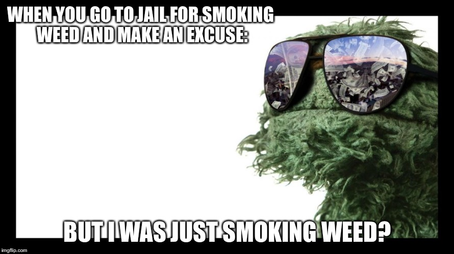 WHEN YOU GO TO JAIL FOR SMOKING WEED AND MAKE AN EXCUSE: BUT I WAS JUST SMOKING WEED? | image tagged in oscar the grouch is made from weed | made w/ Imgflip meme maker