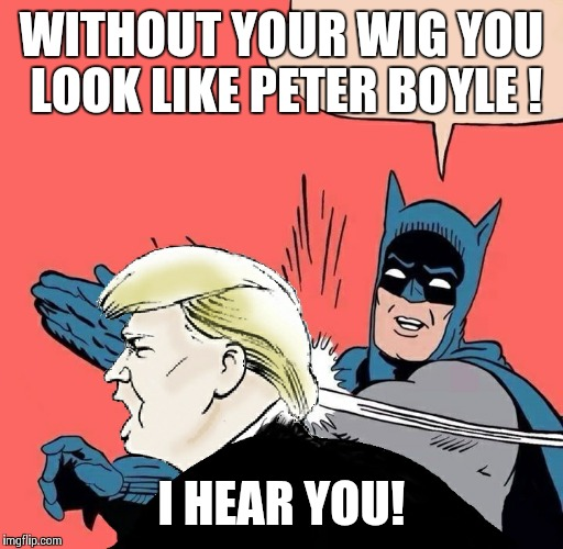 Batman slaps Trump | WITHOUT YOUR WIG YOU LOOK LIKE PETER BOYLE ! I HEAR YOU! | image tagged in batman slaps trump | made w/ Imgflip meme maker