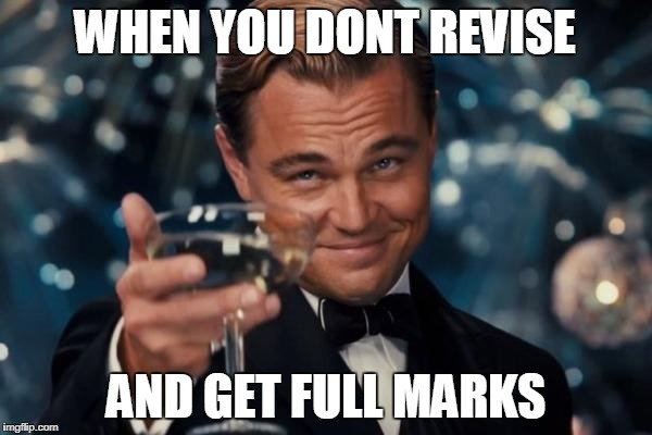Leonardo Dicaprio Cheers Meme | WHEN YOU DONT REVISE AND GET FULL MARKS | image tagged in memes,leonardo dicaprio cheers | made w/ Imgflip meme maker