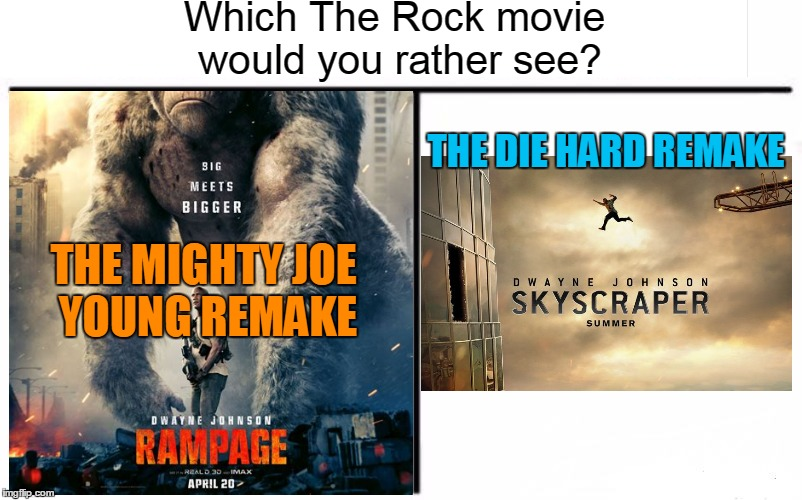 THE MIGHTY JOE YOUNG REMAKE THE DIE HARD REMAKE Which The Rock movie would you rather see? | made w/ Imgflip meme maker
