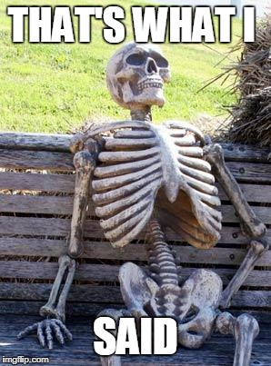 Waiting Skeleton Meme | THAT'S WHAT I SAID | image tagged in memes,waiting skeleton | made w/ Imgflip meme maker