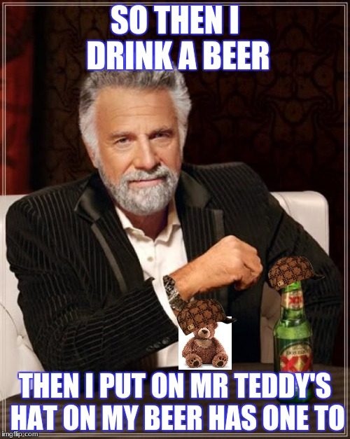 The Most Interesting Man In The World Meme | SO THEN I DRINK A BEER THEN I PUT ON MR TEDDY'S HAT ON MY BEER HAS ONE TO | image tagged in memes,the most interesting man in the world,scumbag | made w/ Imgflip meme maker