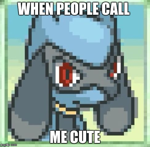 WHEN PEOPLE CALL ME CUTE | image tagged in pokmon md riolu reaction | made w/ Imgflip meme maker