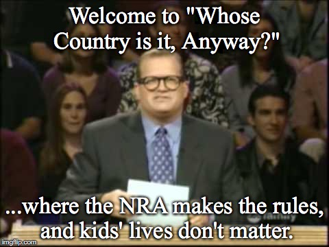 "It's OURS! | Welcome to ""Whose Country is it, Anyway?"" ...where the NRA makes the rules, and kids' lives don't matter. 